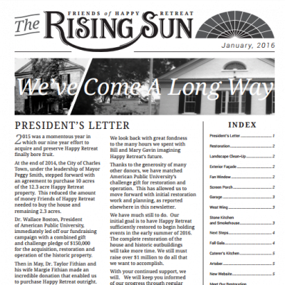 January 2016 Rising Sun Newsletter