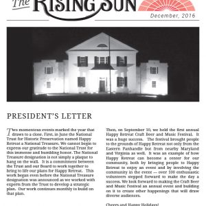 December 2016 Rising Sun Newsletter