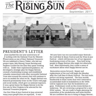 September 2017 Rising Sun Newsletter
