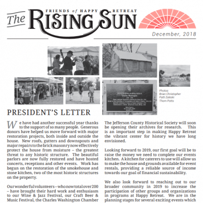 December 2018 Rising Sun Newsletter