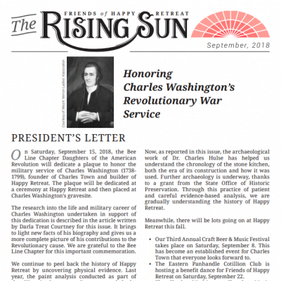 September 2018 Rising Sun Newsletter