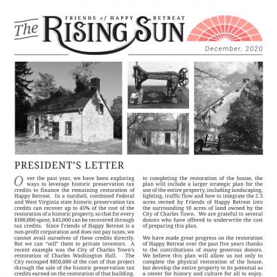 December 2020 Rising Sun Newsletter
