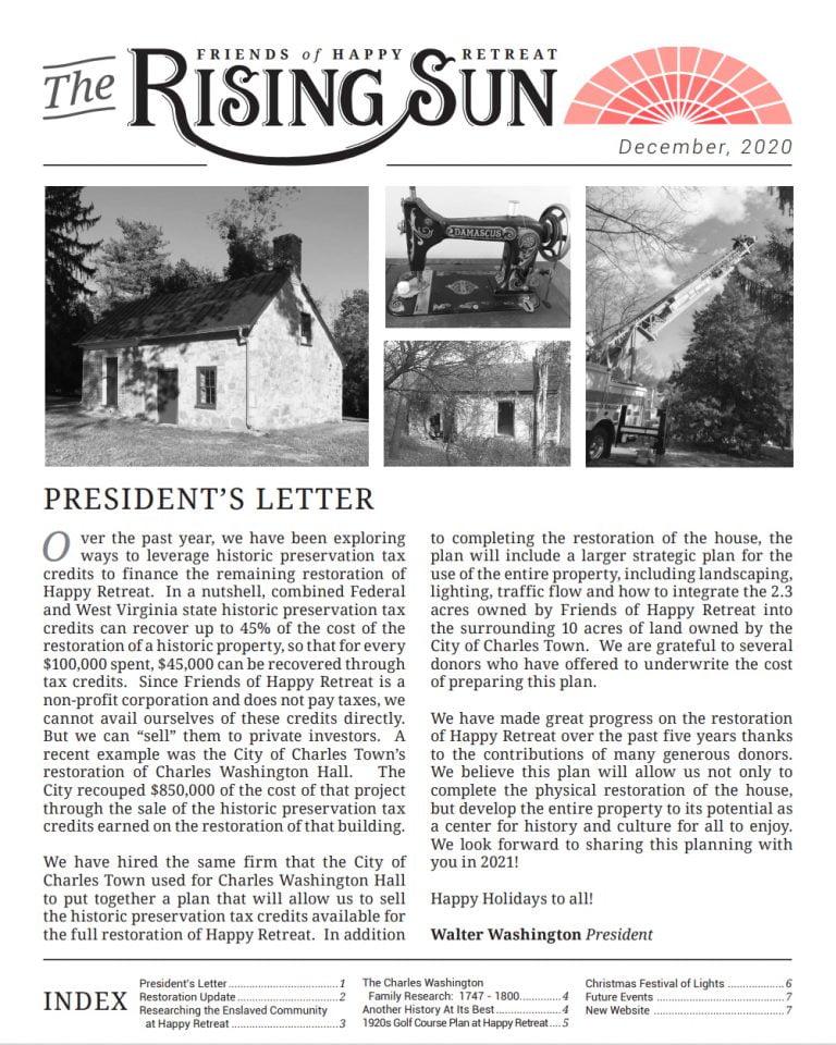 December 2020 Rising Sun Newsletter